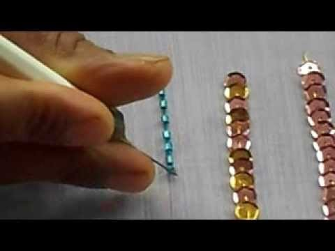 AARI. TAMBOUR.MAGGAM  EMBROIDERY: how to sew bungle bead with a aari needle