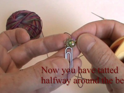 Adding a bead to center of tatted mock ring