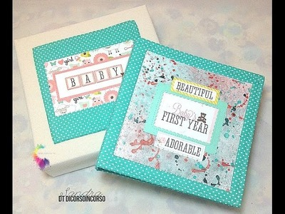 Baby Girl Mini Album in a Box-Mini album in scatola-Echo Park Bundle of Joy-Scrapbooking-DIY