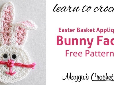 Easter Bunny Face Applique Free Crochet Pattern - Right Handed