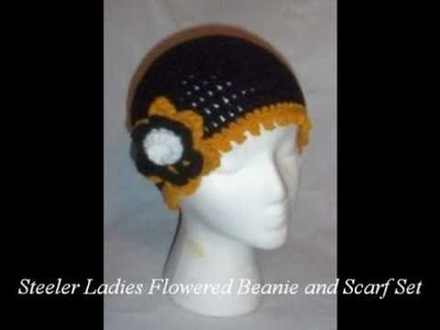 Hand Crochet Pittsburgh Steeler's Beanies and Scarves