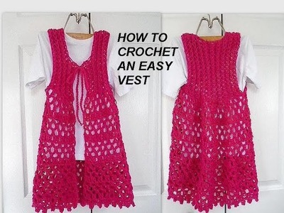 How to crochet a LONG Lacy Openwork PINK VEST, easy vest, clothing, free video tutorial