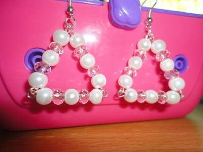 How To Make Earrings With Beads - Triangle Shape, White Pearls & Crystals
