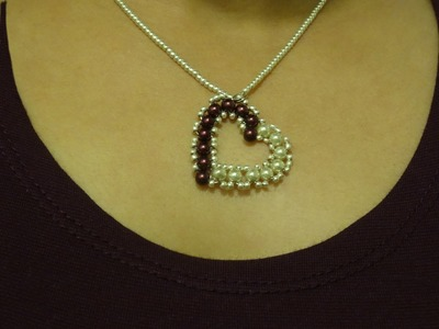 How to make small heart pendant with pearls. DIY Valentine's day project