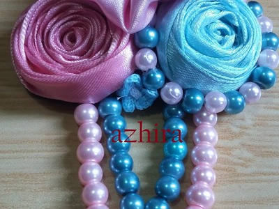 Jewelry 5: make rolls flower for pin using satin ribbon #DIY @azhira