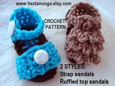 RUFFLED TOP CROCHET SANDAL BOOTIES, part 1, strap sandals, free crochet pattern