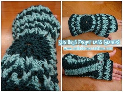 Sun Rays Finger less Gloves - Crochet Tutorial