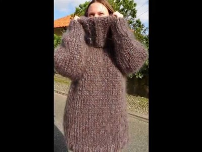 1.7Kg Gray Hand Knitted Long hair Mohair Sweater by LanaKnittings Fetish