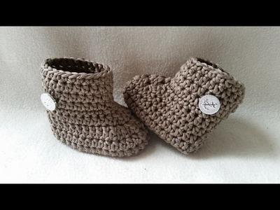 Crochet Baby Bootie - Winter Bootie - Babyshoe - Part 2 - Sides by BerlinCrochet