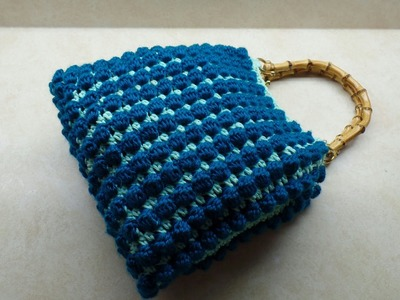 #Crochet Bobble Stitch Handbag Purse #TUTORIAL