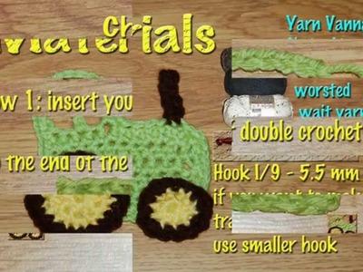 Crochet Tractor Applique, Embellishment, Crochet toy