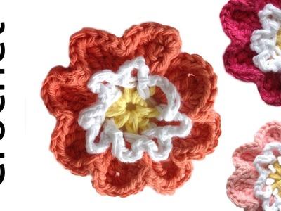 Cute Flower Free Easy Crochet Pattern & Lesson - Left Handed