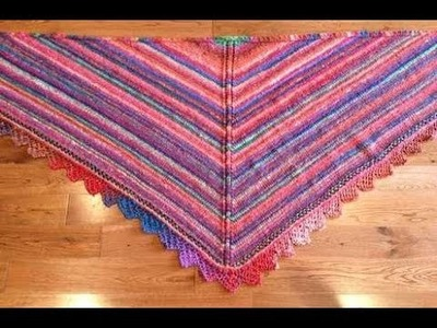 How To Knit Triangle Shawl - Row 1 and Row 2 oF The Shawl Body