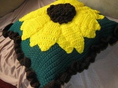Large Sunflower Pillow pt 2 - Left Handed Crochet Tutorial