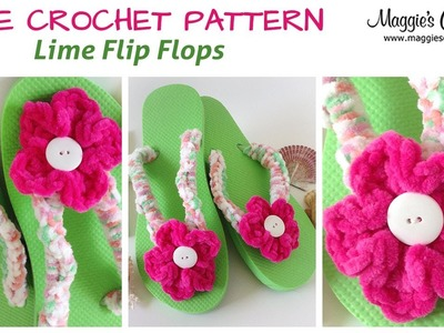 Lime Flip Flop Free Crochet Pattern - Right Handed