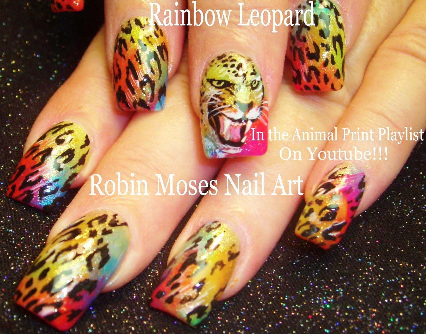 Nail Art Tutorial | DIY Leopard design Nails | Rainbow Animal Print with Face