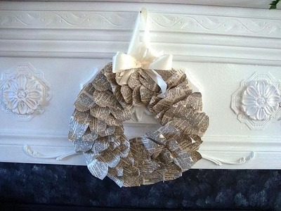 PAPER LEAF WREATH, how to, recycle, christmas, everyday wreath, paper crafts
