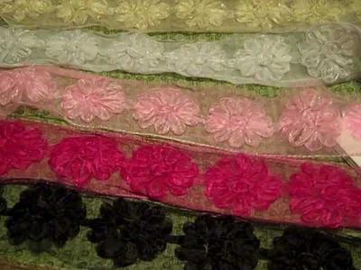 Trims for sale: velvet ribbon, pleated satin ribbon, rosette trim: CRAFTS!!
