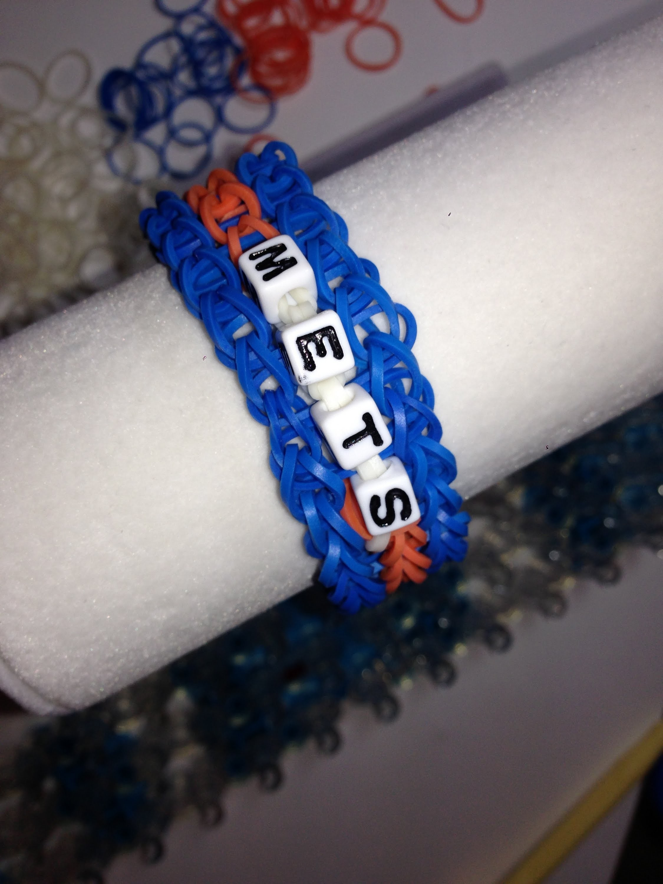 Adding Letter Beads for Team Name on a Rainbow Loom Bracelet