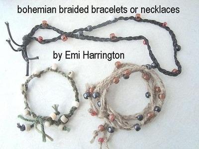 BOHEMIAN BEADED FRINGED BRACELET OR NECKLACE. .