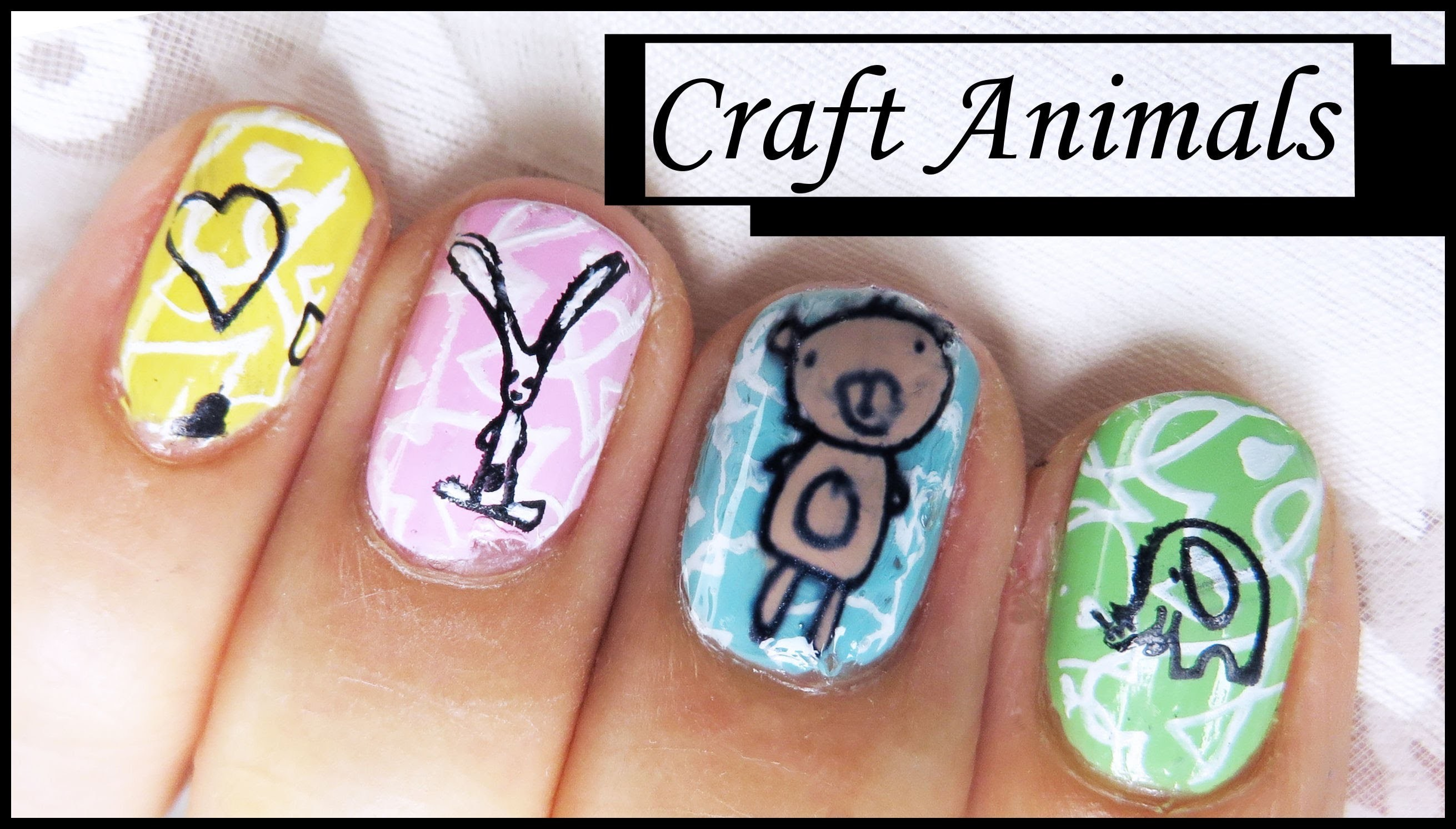 CRAFT ANIMAL STAMPING NAIL ART DESIGN TUTORIAL FOR SHORT NAILS BEGINNERS EASY SIMPLE DIY HOME MADE