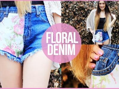 DIY: Floral Fabric Covered Denim Shorts | LaurDIY