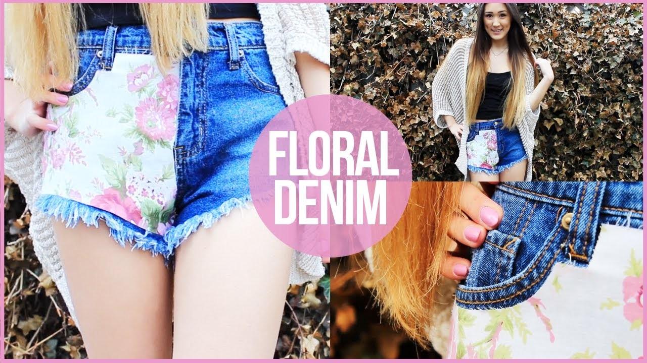 DIY: Floral Fabric Covered Denim Shorts   LaurDIY