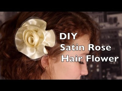 DIY Rose Hair Flower Tutorial | How To Make A Satin Rose Hair Flower or Bow