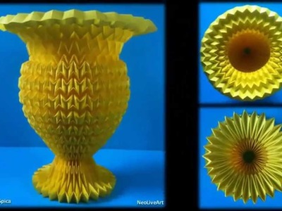 Flower Vase. Paper With Acrylic Enamel. Fold. Origami