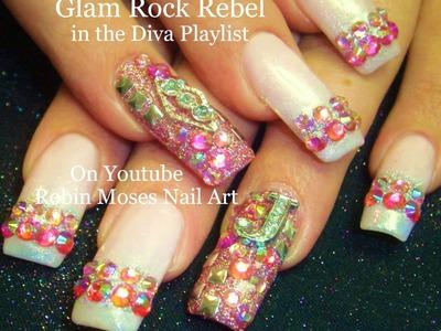 Nail Art Tutorial | DIY Glam Diva Nails | HOT Pink Diamond Bling Nail Design