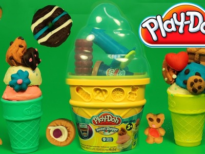 Play Doh Sweet Shoppe Ice Cream Cone Container Craft Kit How to make Playdough Ice Cream