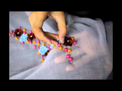 Tutorial sewing crumble beads on the scarf