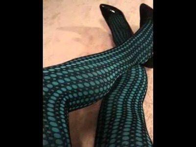 Black Crochet Bodystocking and Blue Tights