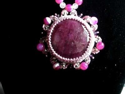 Collana rubino incastonata con delica beads ruby gemstone