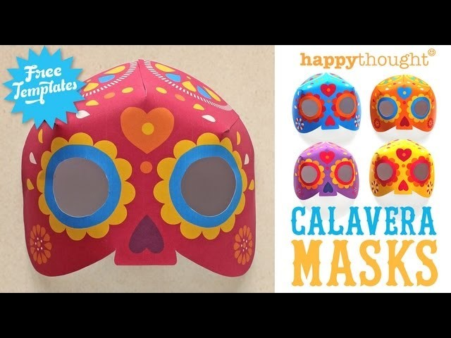 Day of the Dead Calavera mask- Step-by-step video tutorial & free templates to download!