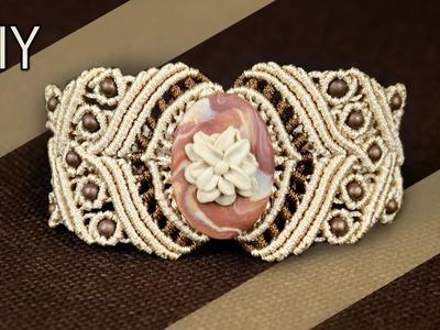 DIY Macramé Bracelet with Stone and Beads - Tutorial