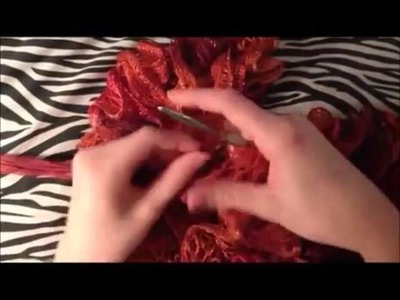 How To Crochet A Ruffle Scarf Using Sashay Yarn Tutorial  | Slow Motion Version