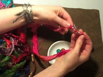 How to make a beaded silk wrap bracelet