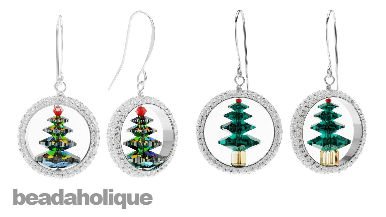 How to Make Captured Swarovski Crystal Christmas Tree Earrings
