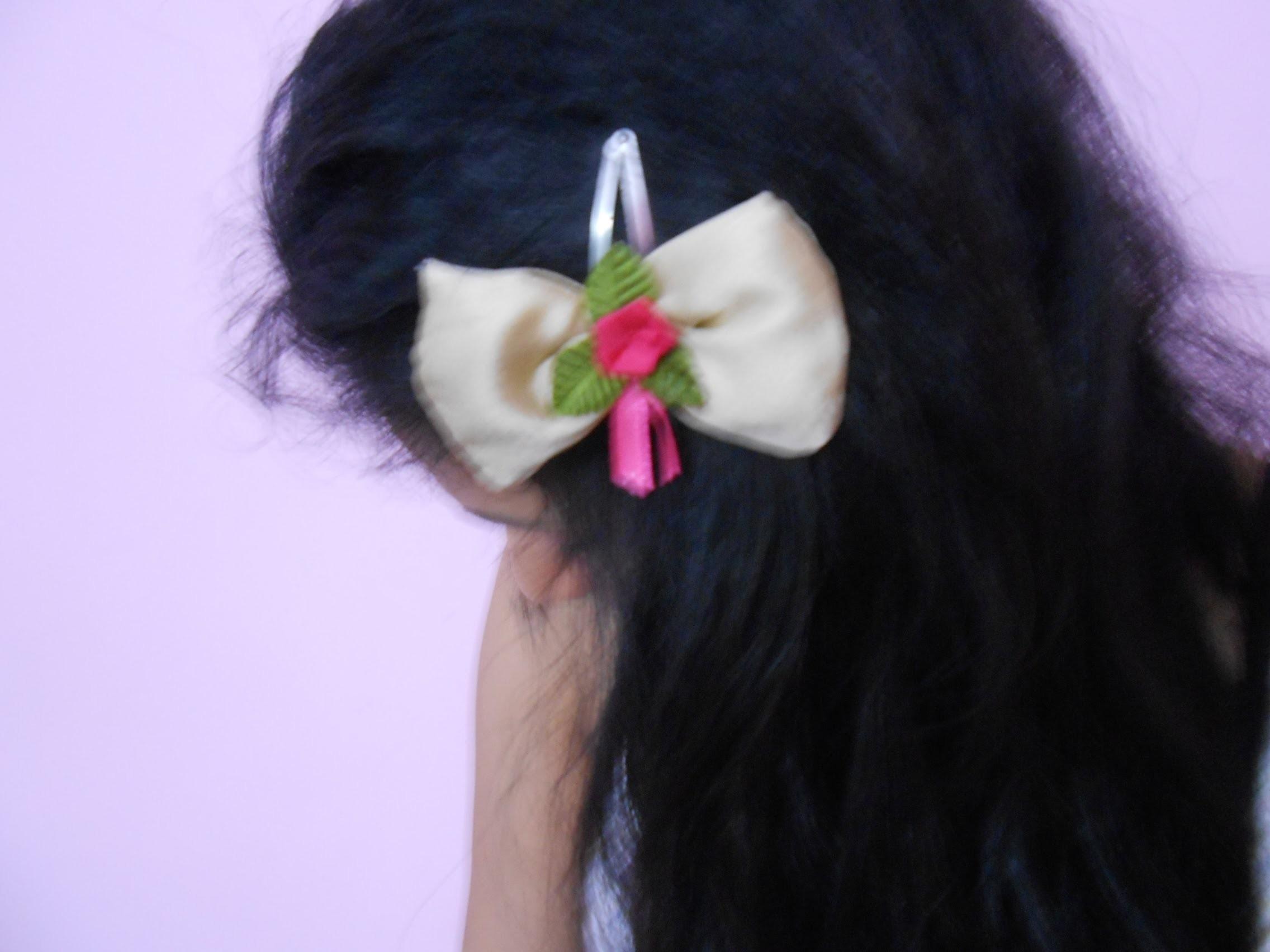 How To Make Flower Hair Clip At Home-DIY Bow Hair Floral Clip. Tutorial