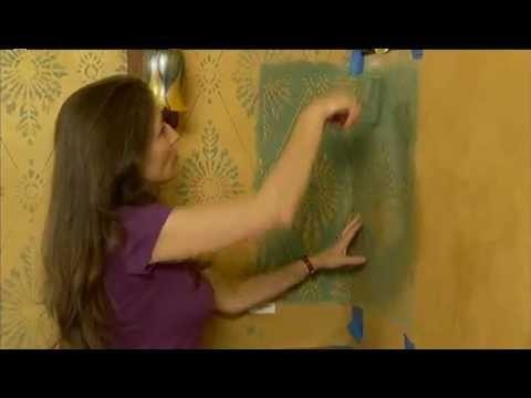 How to Stencil a Wall Corner Using A Damask Stencil by Cutting Edge Stencils. DIY decor