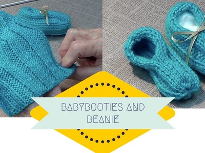 Stretchy Baby Booties and Beanie