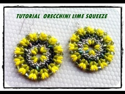 "Tutoria come fare orecchini fluo "" Lime Squeeze"" superduo feat herringbone"