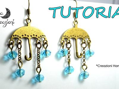 Tutorial per Principianti: Orecchini con Ombrelli e pioggia di mezzi cristalli | DIY: Earrings |