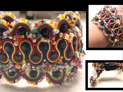 Beading4perfectionists : Soutache figure 8 part 3.Adding side beads and adjustable clasp