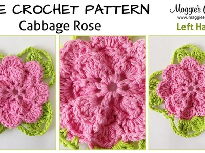 Cabbage Rose Free Crochet Pattern - Left Handed