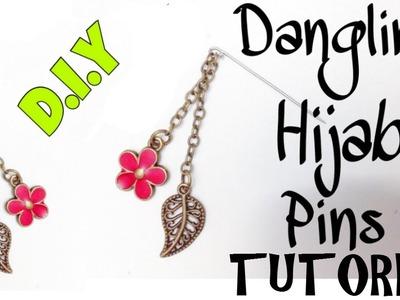 DIY Hijab Accessories #2: Dangling Pin Hijab Tutorial in 3 minutes! [hijabdiariesxo]