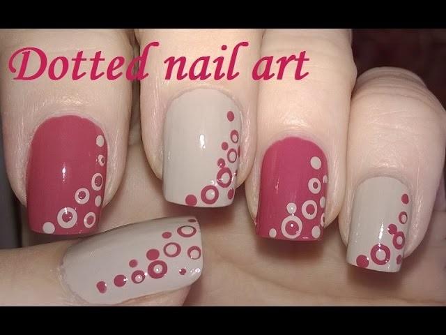 Dotting Tool Nail Art Tutorial Diy Cute Mauve And Light Brown Nails
