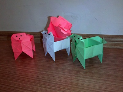 How To Make a Dog's box   Paper Origami Dog Box
