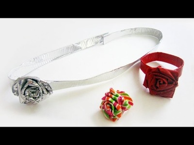 How to make duct tape rose accessories - ring, belt, headband,bracelet,choker - EP